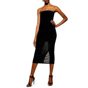 TOPSHOP Black Bodycon Slinky Strapless Midi Dress